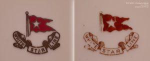Loga White Star Line na talerzach - po lewej z egzemplarza z planu filmowego, po prawej - oryginalnego