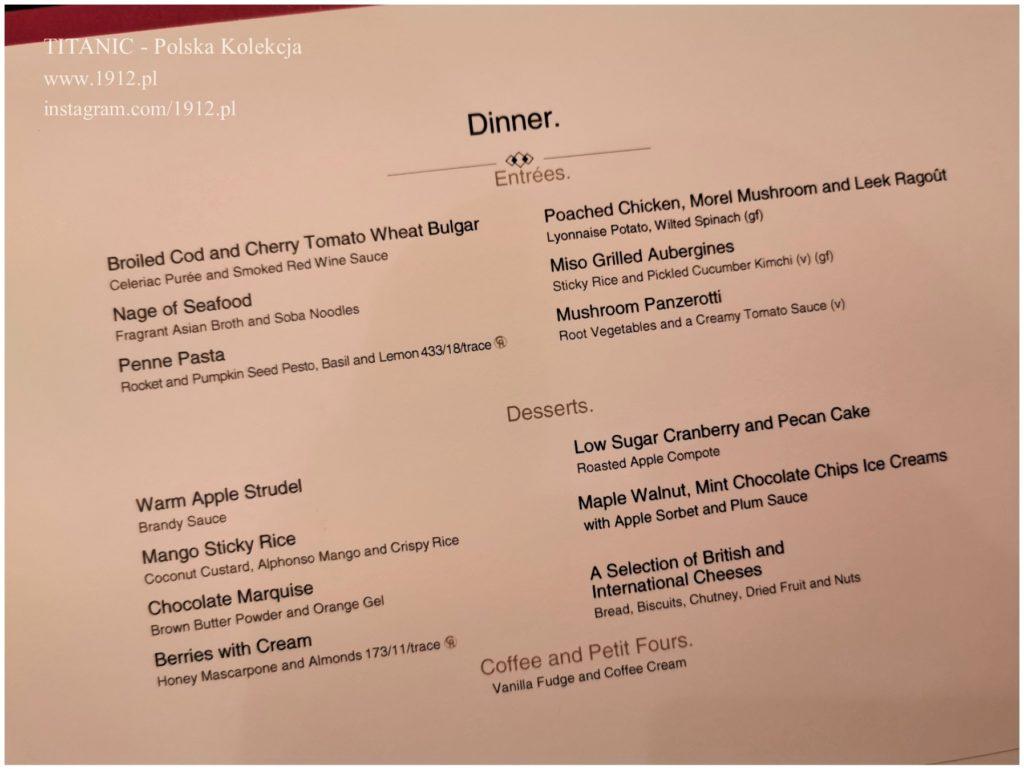 Menu z pierwszej kolacji na Queen Mary 2