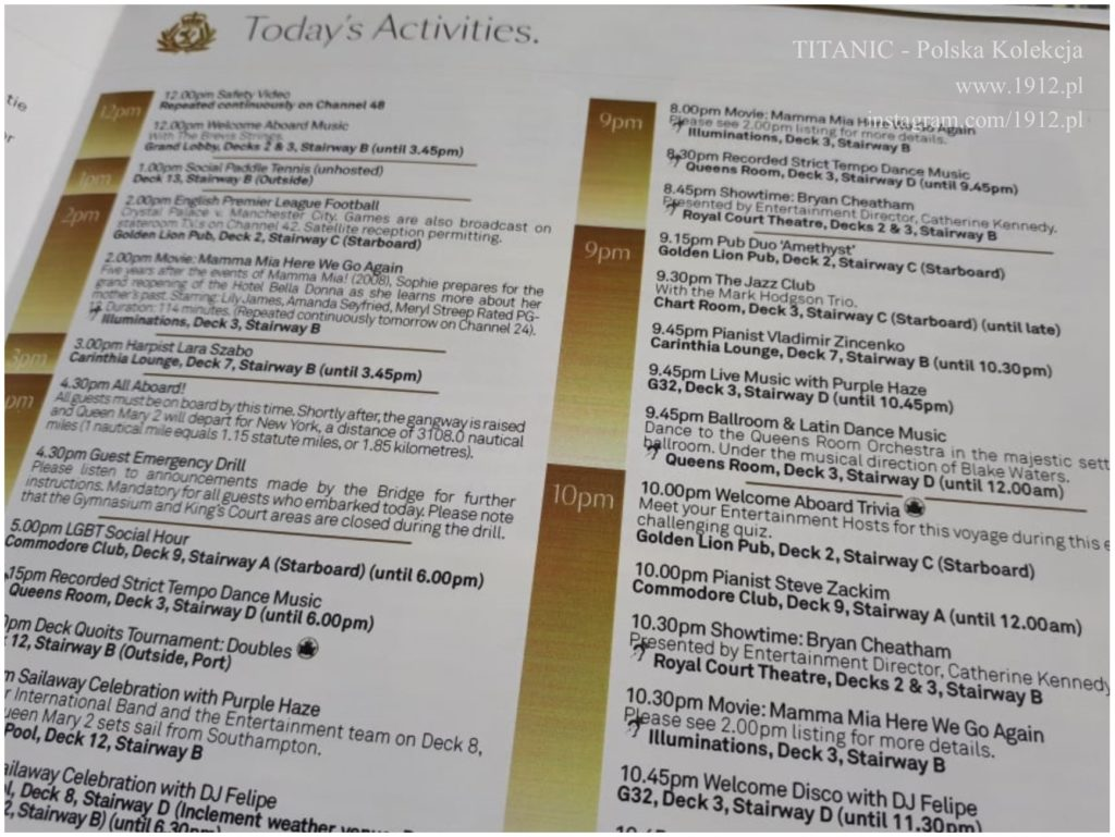 Daily Programme on Queen Mary 2