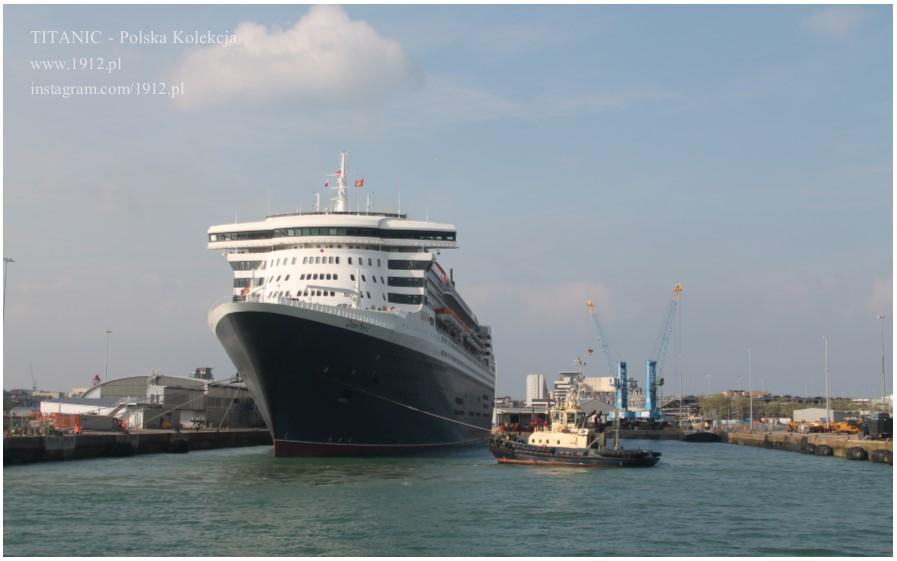 Queen Mary 2 opuszcza dok, 14.04.2019