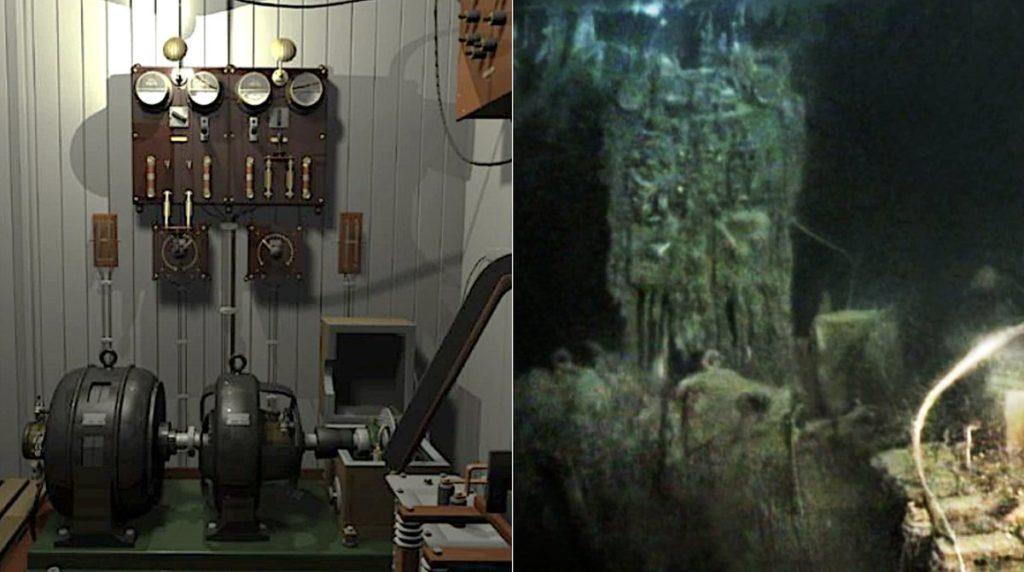 Radiostacja Marconi - wizualizacja i stan obecny wewnątrz wraku. Fot: Imgur