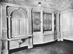 Fragment salonu jadalnego 1 klasy Titanica - ten sam wzór linoleum