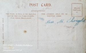 Tył jedwabnej pocztówki z Titanica