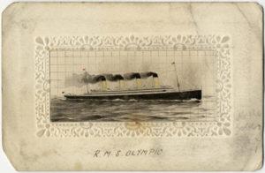 Projekt jedwabnej kartki pocztowej Olympica / Titanica. Henry Aldridge and Son.