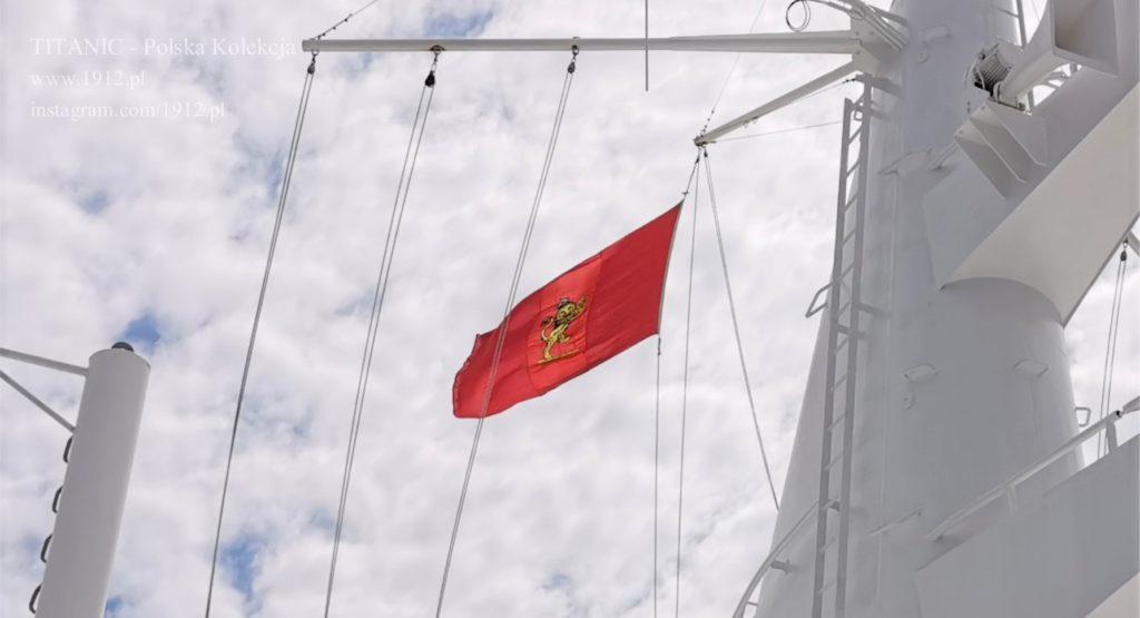 Flaga z Queen Mary po kilkudziesięciu latach na Queen Mary 2
