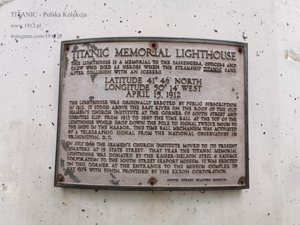 Tabliczka na Titanic lighthouse