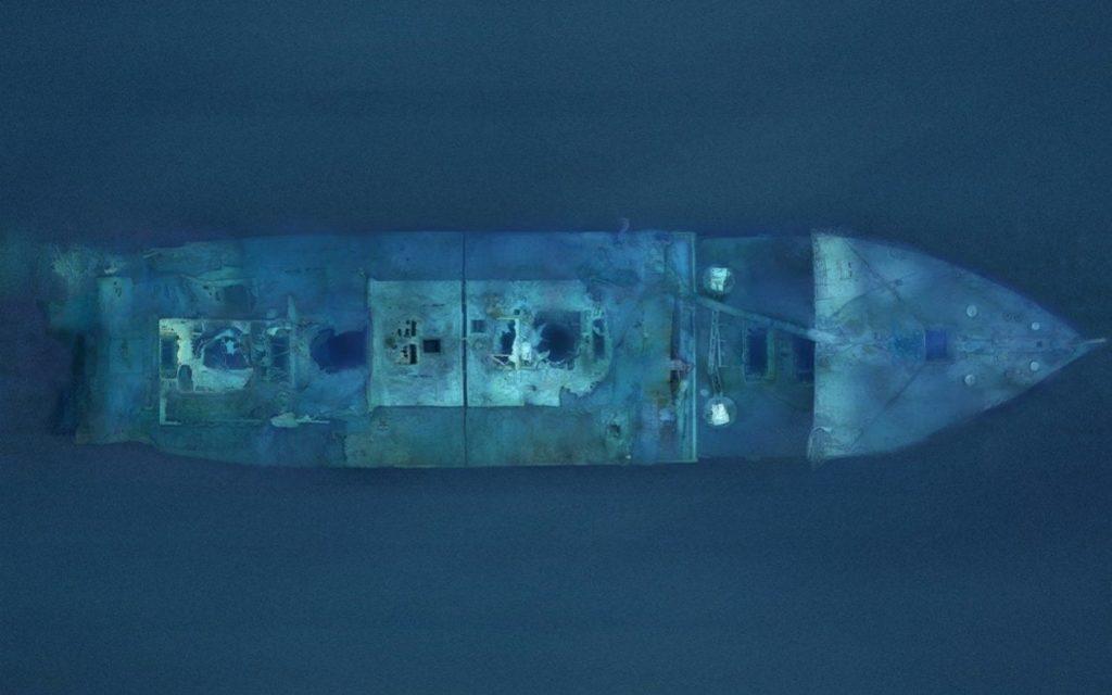 Wrak Titanica widziany z góry (fotomozaika)